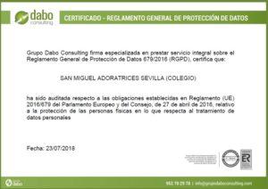 CERTIFICACION PROTECCION DE DATOS